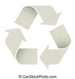 fatto, riutilizzare, isolated., eps10, simbolo., carta, vettore, riciclare, struttura
