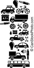 fatto, set, automobile, astratto, -, numero 1, vettore, alfabeto, icona