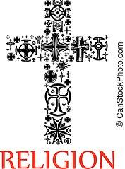 fatto, silhouette, su, croce, crocifissi, religioso
