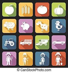fattoria, appartamento, set, icone