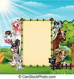 fattoria, bambù, vuoto, animali, segno