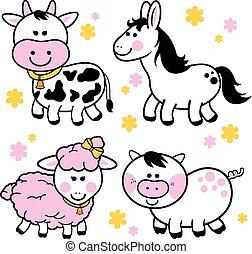 fattoria, collection., vettore, animali, illustrazione