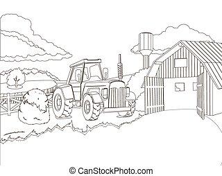 fattoria, coloritura, vettore, libro, trattore