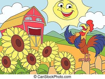 fattoria, estate, 2, mattina