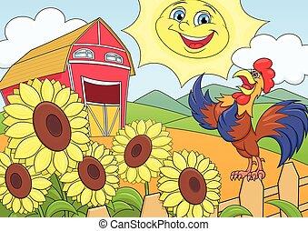 fattoria, estate, mattina
