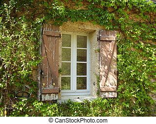 fattoria, finestra, francese, otturatori, &