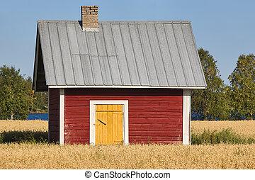 fattoria, finlandese, campagna, tradizionale, legno, rosso