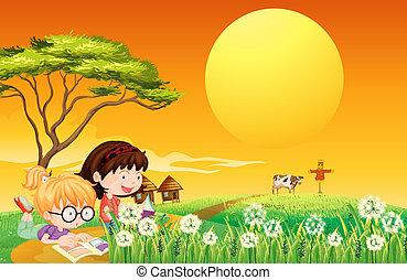 fattoria, libri, ragazze, due, lettura