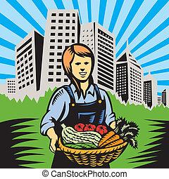 fattoria, prodotti organici, contadino, raccogliere