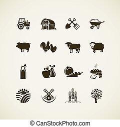 fattoria, set, icone