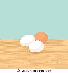 fattoria, tavola, uova, naturale