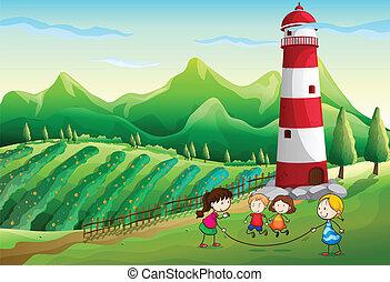 fattoria, torre, bambini, gioco