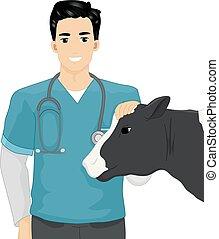 fattoria, veterinario, bestiame, illustrazione, uomo