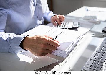 fattura, businessperson, calcolatore