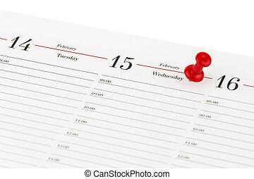 febbraio, clericale, foglia, ago, marcato, diario, 15, data, aperto, rosso