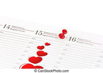 febbraio, clericale, foglia, ago, marcato, diario, 15, data, cuori, aperto, rosso