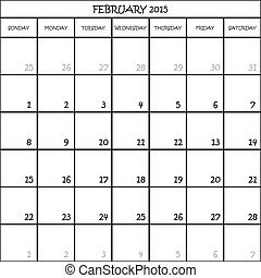 febbraio, pianificatore, mese, fondo, 2015, calendario, trasparente