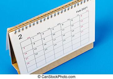 febbraio, reminder., organizzatore, scrivania, piano, 2021, calendario
