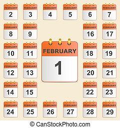 febbraio, set, calendario, icone