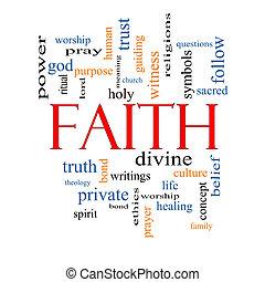 fede, concetto, parola, nuvola