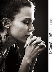 fede, donna, -, preghiera, religione