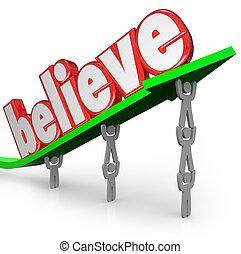 fede, parola, credenza, freccia, squadra, credere, sollevamento, uplifted