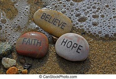 fede, rocks;, speranza, believe.