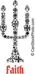 fede, simbolo, chuch, candela, icon., religioso