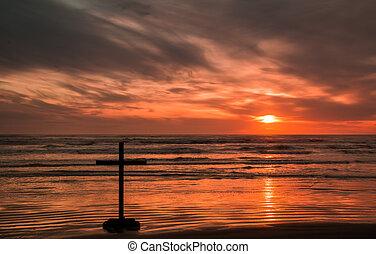 fede, tramonto, croce