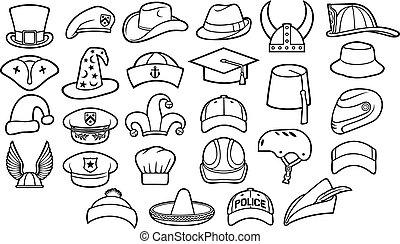 fedora, set, sombrero, cappelli, berretto, chef, linea, casco, differente, polizia, icone, (cowboy, basco, viking, baseball, fez, militare, pirata, tipi, cappuccio, mago, capitano, ufficiale, magro, cyclist), pettirosso