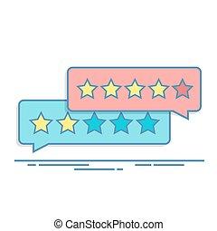 feedback., valutazione, concetto, illustration., forma, stars., mobile, positivo, negativo, rating., luogo., domanda, vettore, scatola, magro, dialogo, interfaccia, linea, cliente, o