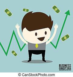 felice, affari, grafico, dollaro, commercio, uomo, casato