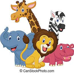 felice, animale, safari, cartone animato