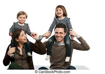 felice, around., famiglia, gioco