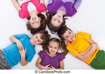 felice, bambini, cinque, pavimento