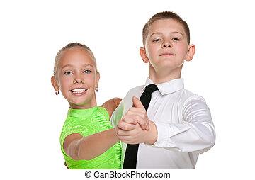 felice, bambini, due, ballo