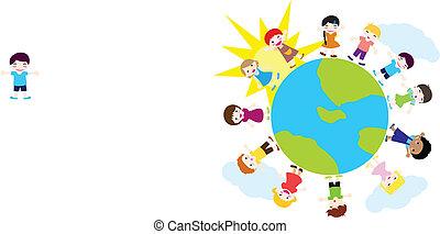 felice, bambini, fondo, natura