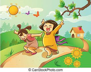 felice, bambini, giardino, gioco