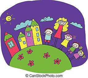 felice, bambini, illustrazione, insegnante