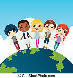 felice, bambini, multi-etnico