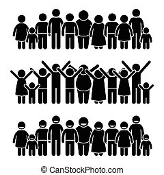 felice, bambini, standing, gruppo