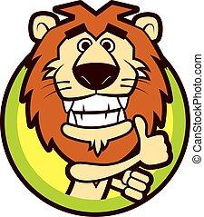 felice, buono, mascotte, vettore, mano grande, denti, carattere, -, segno, leone