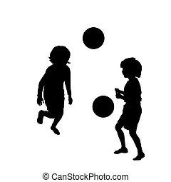 felice, calcio, gioco, bambini