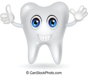 felice, cartone animato, dente