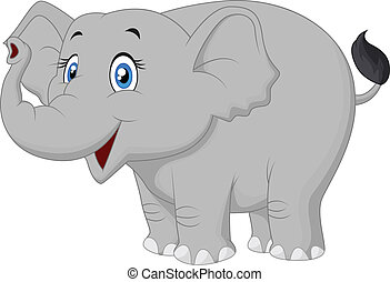 felice, cartone animato, elefante