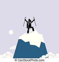 felice, cima, uomo, mountain., successo, arrampicarsi