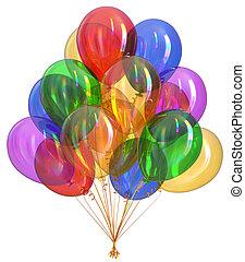 felice, colorito, balloon, multicolor, festa compleanno, balloons., mazzo