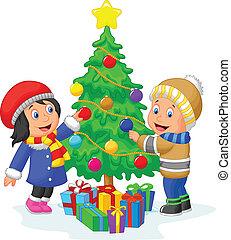 felice, decorare, cartone animato, bambini, chr