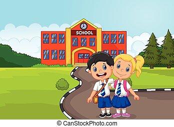 felice, due, standing, studenti, cartone animato