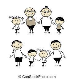 felice, -, genitori, insieme, nonni, famiglia, bambini